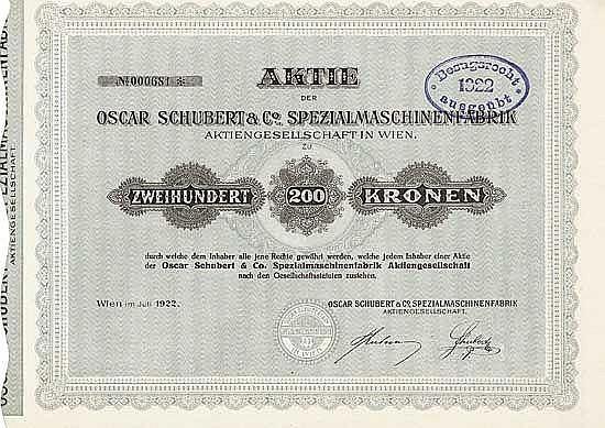Oscar Schubert & Co, Spezialmaschinenfabrik