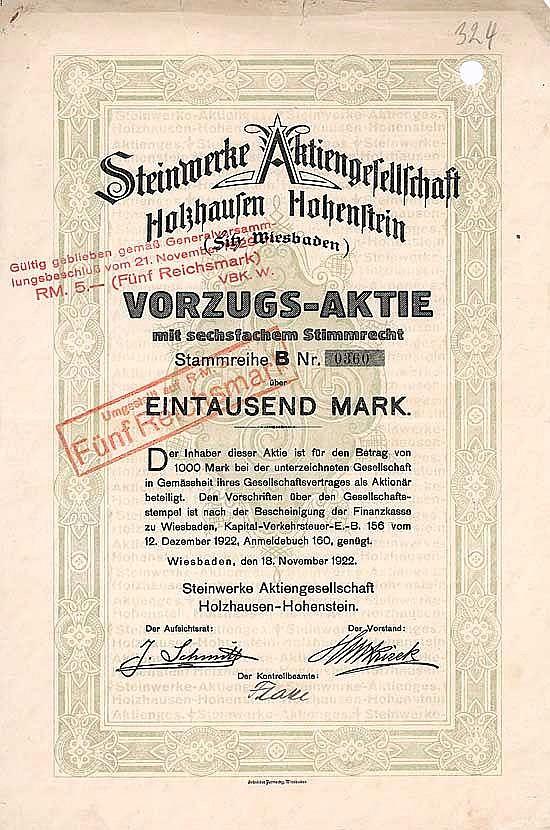Steinwerke AG Holzhausen-Hohenstein