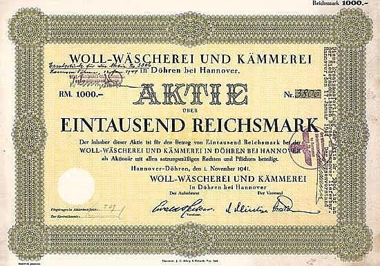 Woll-Wäscherei und Kämmerei (Ersatzausfertigung 12.1.1944)