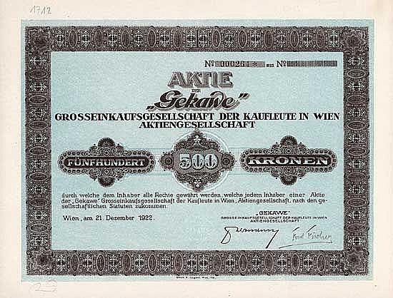 Gekawe Grosseinkaufsgesellschaft der Kaufleute in Wien AG