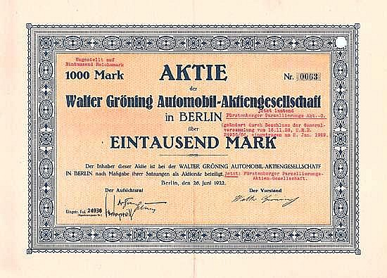 Walter Gröning Automobil-AG