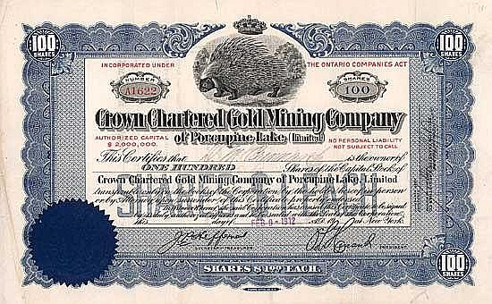 Crown Chartered Gold Minig Co. of Porcupine Lake