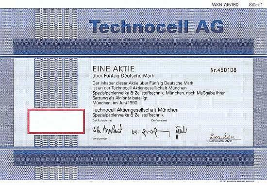 Technocell AG München Spezialpapierwerke & Zellstofftechnik