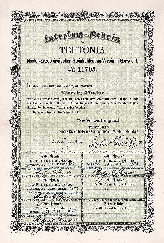 TEUTONIA Nieder-Erzgebirgischer Steinkohlenbau-Verein