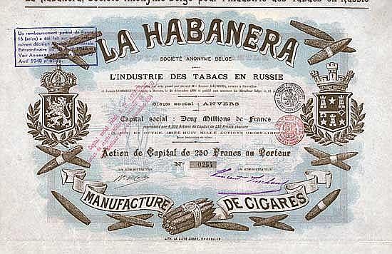 LA HABANERA S.A. Belge pour l'Industrie des Tabacs en Russie