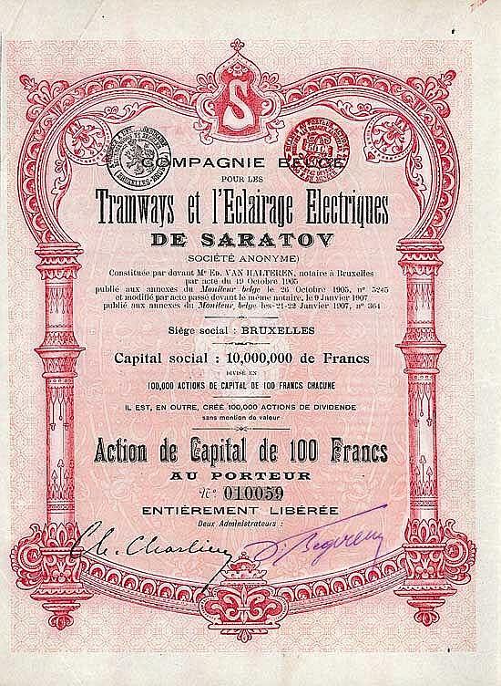Cie. Belge pour les Tramways et l'Eclairage Electriques de Saratov SA