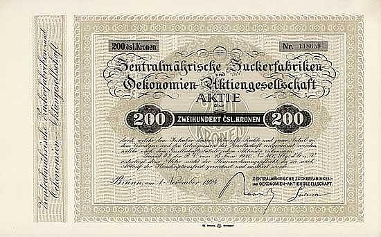 Zentralmährische Zuckerfabriken- und Oekonomien-AG