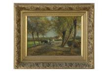 César de COCK (1823-1904). Chemin animé. Huile sur toile signée en bas à d