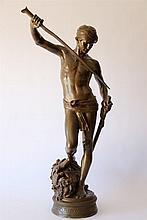 Antonin MERCIE (1845-1916)(d'après). David. Sujet en bronze à patine brune