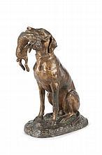 Emile Désiré LIENARD  (1842-?)  Chien assis tenant un lapin.  Bronze à patine mordoré.  Signé.  H. : 30 cm.