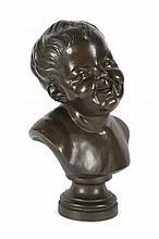 Anselme I FLAMEN  (1647-1717) d'après  Tête de bébé.  Bronze à patine brune.  Signé.  Fonte vers 1880.  H. : 43 cm.