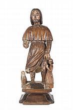 Anonyme  Saint Roch.  Statuette en bois sculpté et partiellement peint.  XVIIème siècle.  H. : 65 cm.