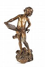 Louis Auguste MOREAU  (1855-1919)  Le critique d'art.  Bronze à patine mordorée.  Signé.  H. : 36 cm.