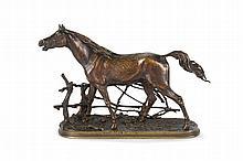 Pierre-Jules MENE  (1810-1879)  Cheval à la barrière n°1.  Bronze à patine brune.  Signé.  H. : 29 cm. L. : 39 cm. P. : 15 cm.
