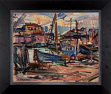 Antoine FERRARI (1910-1995) Le port de Saint-Tropez.