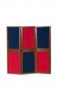 PIERRE JEANNERET (1896-1967) Paravent. Teck, toile de lin. 166.5 x 54 cm. par feuille. Circa 1955. Provenance : - Aménagement des bâtiments administratifs, Chandigarh, Inde.