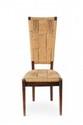 Adrien AUDOUX & Frida MINET Suite de six chaises. Bois, jonc tressé. 108 x 38 x 46 cm. Circa 1950.