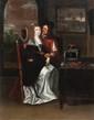 Ecole hollandaise du XVIIème siècle, suiveur d'Abraham BOSSE Couple dans un intérieur. Toile. 74 x 57 cm. Restaurations. Provenance : vente Béthune le 4/02/1979.