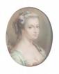 Ecole française du XVIIIème siècle Marie Antoinette de profil. Pastel ovale. Signé De Villeneuve et daté 1785 à droite. 21,5 x 17 cm.