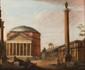 Ecole italienne de la fin du XVIIIème siècle, suiveur de Giovanni Paolo PANNINI Vue de ruines romaines avec la colonne Trajane. Toile. 92 x 112 cm.