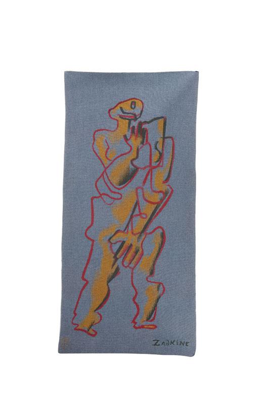 Ossip ZADKINE (1890-1967) Personnage sur fond bleu. Tapisserie. Signée en bas à droite. Bolduc de l'atelier Raymond Picaud Aubusson au dos. 130 x 60 cm.