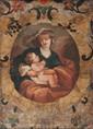 Ecole française de la fin du XVIIIème siècle Vierge à l'Enfant dans une guirlande de fleurs. Cuir. 56 x 40 cm. Restaurations.