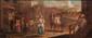 Ecole italienne du XVIIIème siècle La place du village. Huile sur toile. 47 x 112 cm.