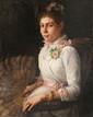 Ecole française du XIXème siècle Jeune femme à l'éventail. Huile sur toile. 75 x 60 cm.