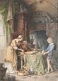 Ecole italienne du XIXème siècle Léonard dans son atelier. Aquarelle. 40 x 27 cm.