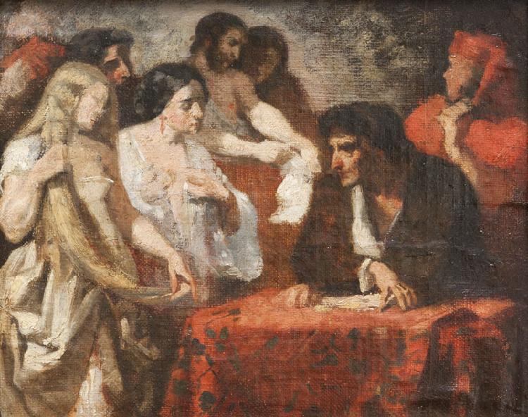 Thomas COUTURE (1815-1879) La soif de l'or. Huile sur toile marouflée sur panneau. 27 x 21 cm. Esquisse préparatoire du tableau conservé au Musée des Augustins à Toulouse.