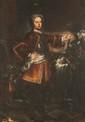 Ecole française du XVIIIème siècle Portrait de Louis XV et Marie Leszczynska. Paire de toiles. 202 x 140 cm. Accidents et restaurations anciennes ; toiles d'origine. Ces tableaux sont inspirés des portraits officiels peints par Michel et Carle Van
