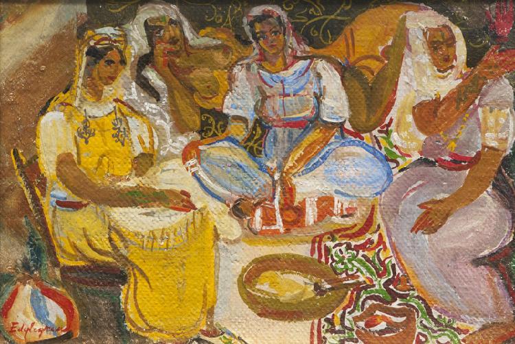 Edouard Léon Louis LEGRAND (1892-1970) Le harem. Huile sur carton. Signée en bas à gauche. 23 x 35 cm.