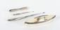Quatre petits objets en métal argenté ayant appartenu à Jules Verne comprenant un onglier, deux tire bottines et une petite brosse. Monogramme de Jules Verne.
