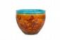 Théodore Deck (1823-1891)  Important cache-pot de forme arrondie en faïence fine polychrome à décor de  fleurs de pavots et papillons sur fond orange nuancé avec motif japonisant sur  la bordure haute.  Signé.  H. : 47 cm. D. : 60 cm.