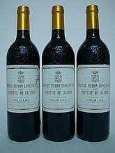3 bouteilles  CHÂTEAU PICHON COMTESSE DE LALANDE 2007 GCC2 Pauillac (1 e.l.s; 1 e.t.h; 1 e.l.a.)