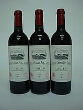 3 bouteilles   CHÂTEAU GRAND PUY LACOSTE 1996 GCC5 Pauillac