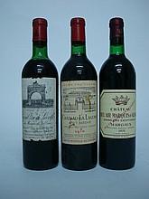 3 bouteilles   1 CHÂTEAU LEOVILLE LAS CASES 1970 GCC2 St Julien (H.E.-; e.t.h.-e.l.a.)   1 CHÂTEAU LA LAGUNE 1970 GCC3 Haut Médoc (e.t.h.)  1 CHÂTEAU BEL AIR MARQUIS D'ALIGRE 1978 Margaux (B.G; e.l.s.)