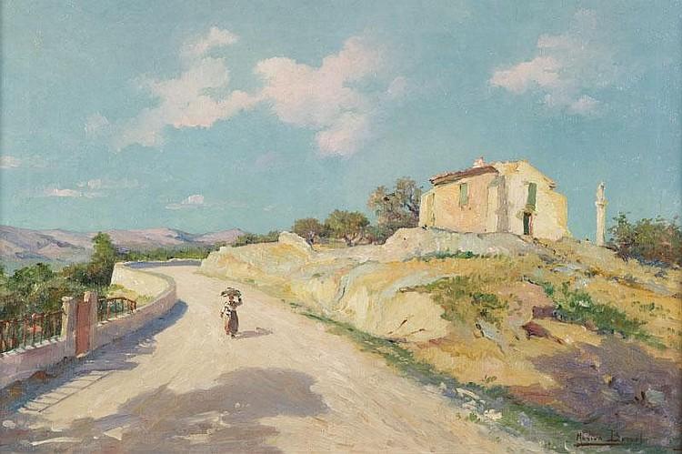 Marius BARRET (1865-?)Paysage provençal.Huile sur toile.Signée en bas à droite.40 x 60 cm.