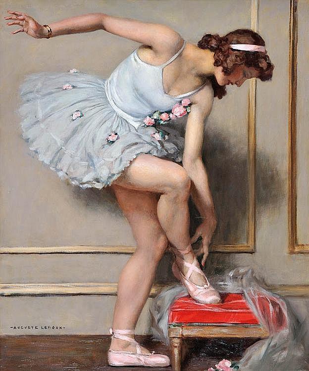 AUGUSTE LEROUX (1871-1954)Ballerine.Huile sur toile.Signée en bas à gauche.64 x 54 cm.
