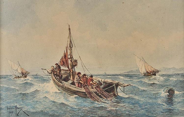 EMILE HENRY (1842-1920)Barques en mer.Aquarelle.Signée en bas à gauche et datée 1919. 24,5 x 39 cm.