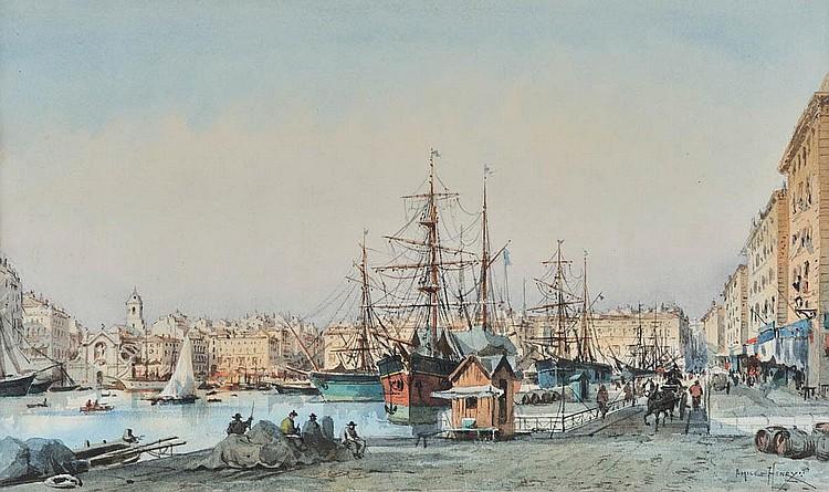 EMILE HENRY (1842-1920)Le quai de Rive Neuve.Aquarelle.Signée en bas à gauche. 24 x 40 cm.