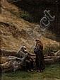 JEAN-ACHILLE BENOUVILLE (1815-1891)ATTRIBUE AMoines dans un paysage.Huile sur toile marouflée sur panneau. 30 x 22,8 cm.