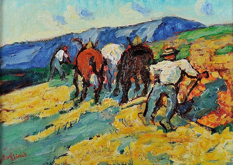 RENE SEYSSAUD (1867-1952)Les laboureurs.Huile sur toile.Signée en bas à gauche.46 x 66 cm.