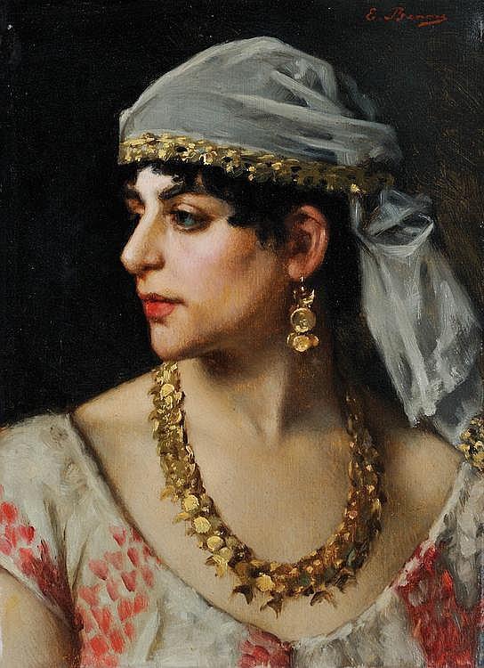 EMMANUEL BENNER (1836-1896)Portrait d'une orientale.Huile sur toile.Signée en haut à droite.32 x 25 cm.
