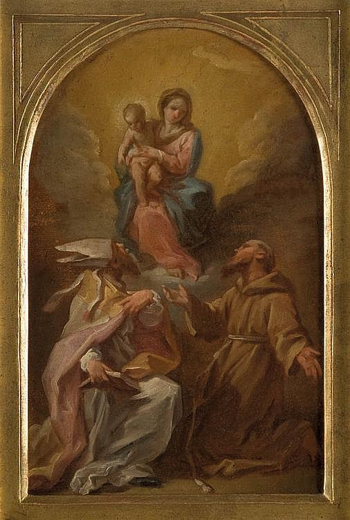ETIENNE PARROCEL DIT LE ROMAIN (AVIGNON 1696 - ROME 1776)La Vierge à l'Enfant avec Saint François et Saint Augustin.Papier marouflé sur carton à vue cintrée.35,5 x 22,5 cm.