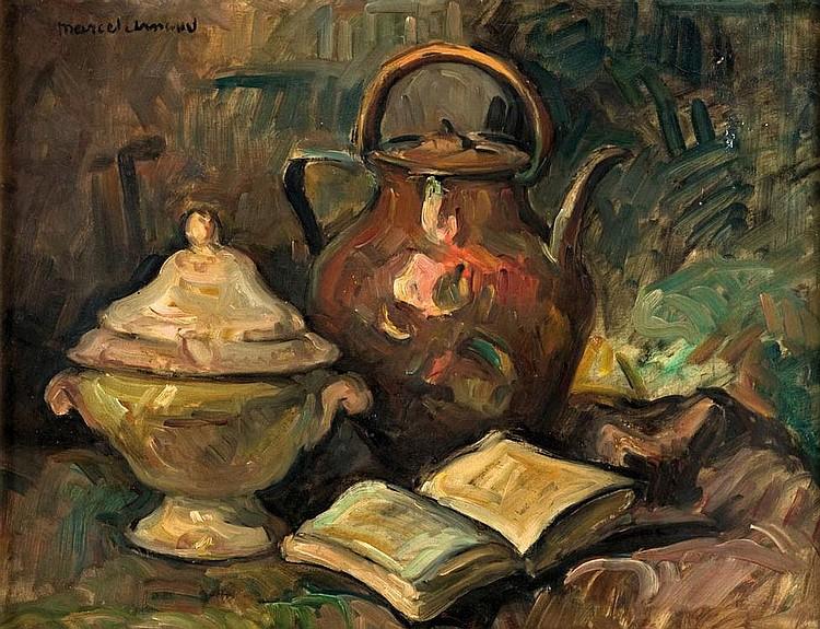 MARCEL ARNAUD (1877-1956)Nature morte au pichet.Huile sur carton.Signée en haut à gauche.49,5 x 65,5 cm.