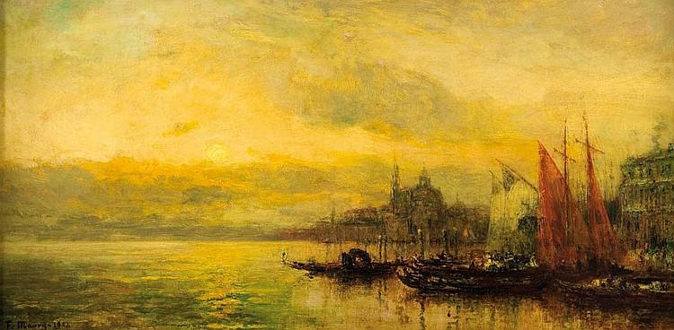 FRANCOIS MAURY (1861-1933)Venise, coucher de soleil 1908.Huile sur toile.Signée en bas à gauche.99 x 49 cm