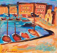 Antoine FERRARI (1910-1995) Le port de Marseille.