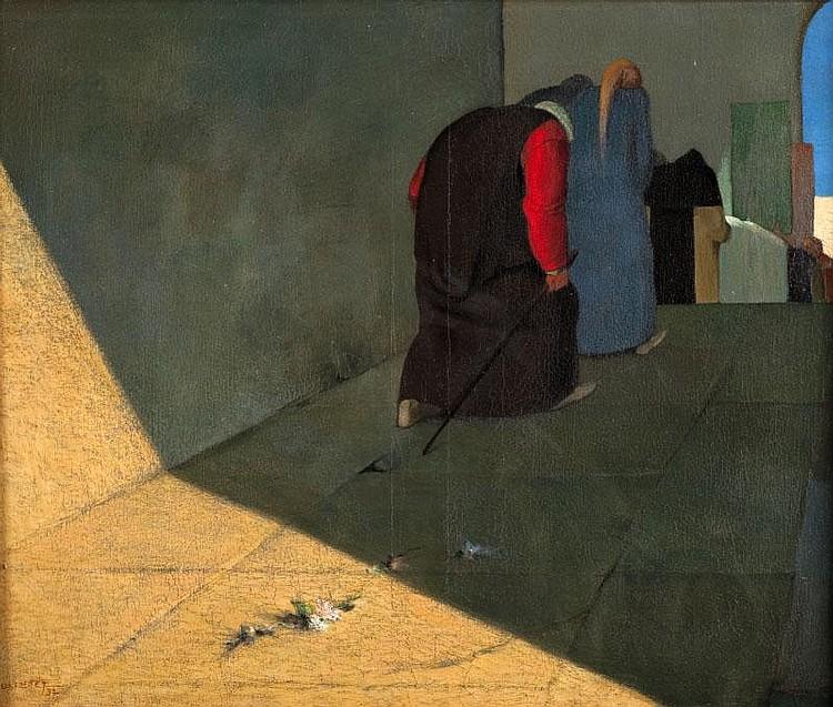 Luc LAFNET (1899-1939)Dans la rue.Huile sur