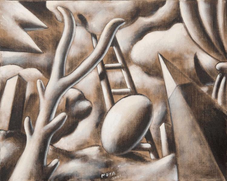 PATRICK MOYA (FRA/1955)  Paysage surréaliste en grisaille, 2001